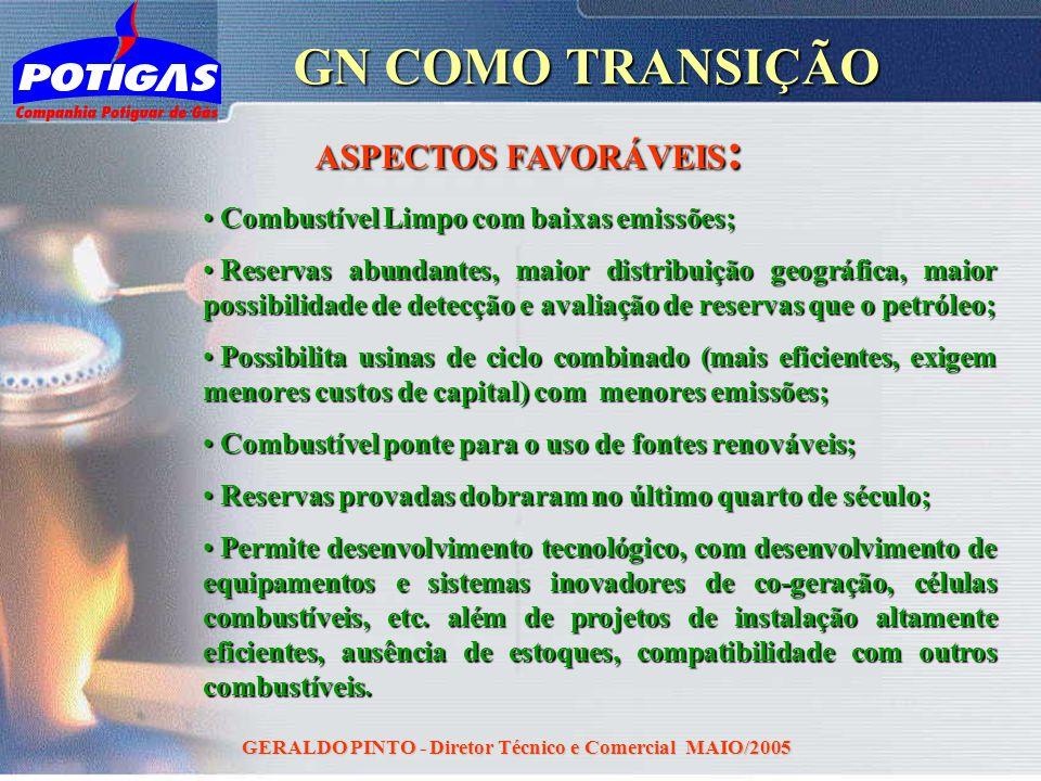 GERALDO PINTO - Diretor Técnico e Comercial MAIO/2005 GN COMO TRANSIÇÃO Combustível Limpo com baixas emissões; Combustível Limpo com baixas emissões;
