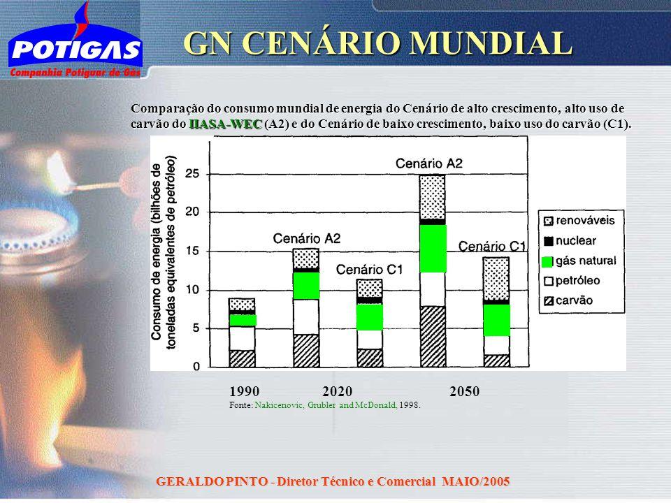 GERALDO PINTO - Diretor Técnico e Comercial MAIO/2005 GN CENÁRIO MUNDIAL Comparação do consumo mundial de energia do Cenário de alto crescimento, alto