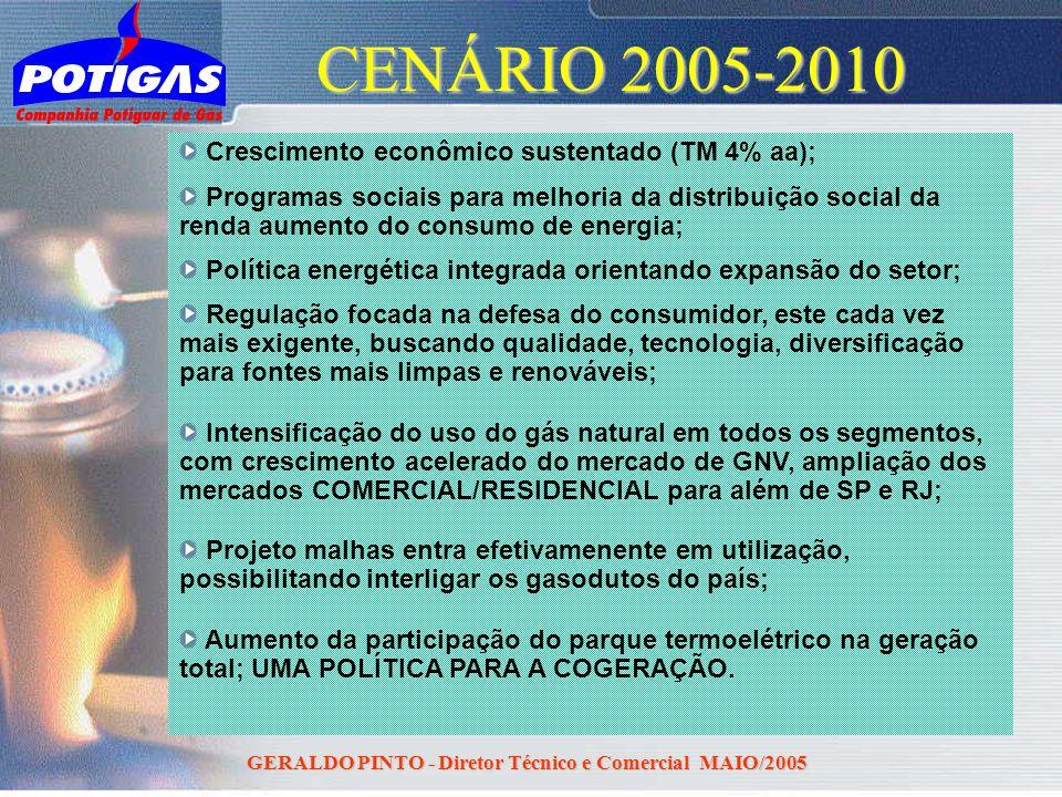 GERALDO PINTO - Diretor Técnico e Comercial MAIO/2005 CENÁRIO 2005-2010 Crescimento econômico sustentado (TM 4% aa); Programas sociais para melhoria d