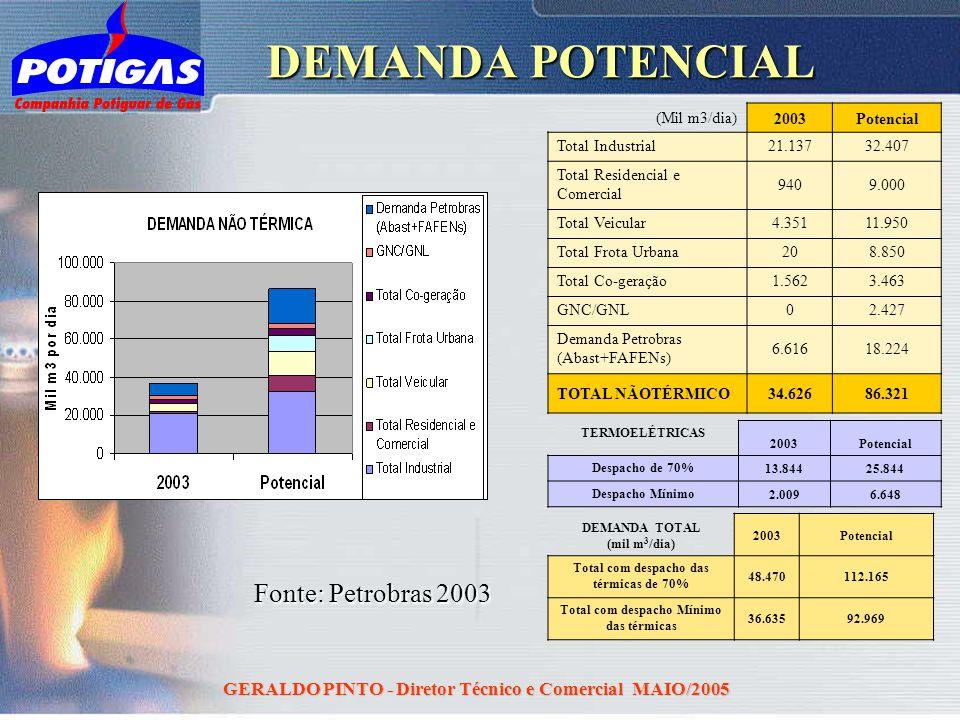 GERALDO PINTO - Diretor Técnico e Comercial MAIO/2005 DEMANDA POTENCIAL (Mil m3/dia)2003Potencial Total Industrial21.13732.407 Total Residencial e Com