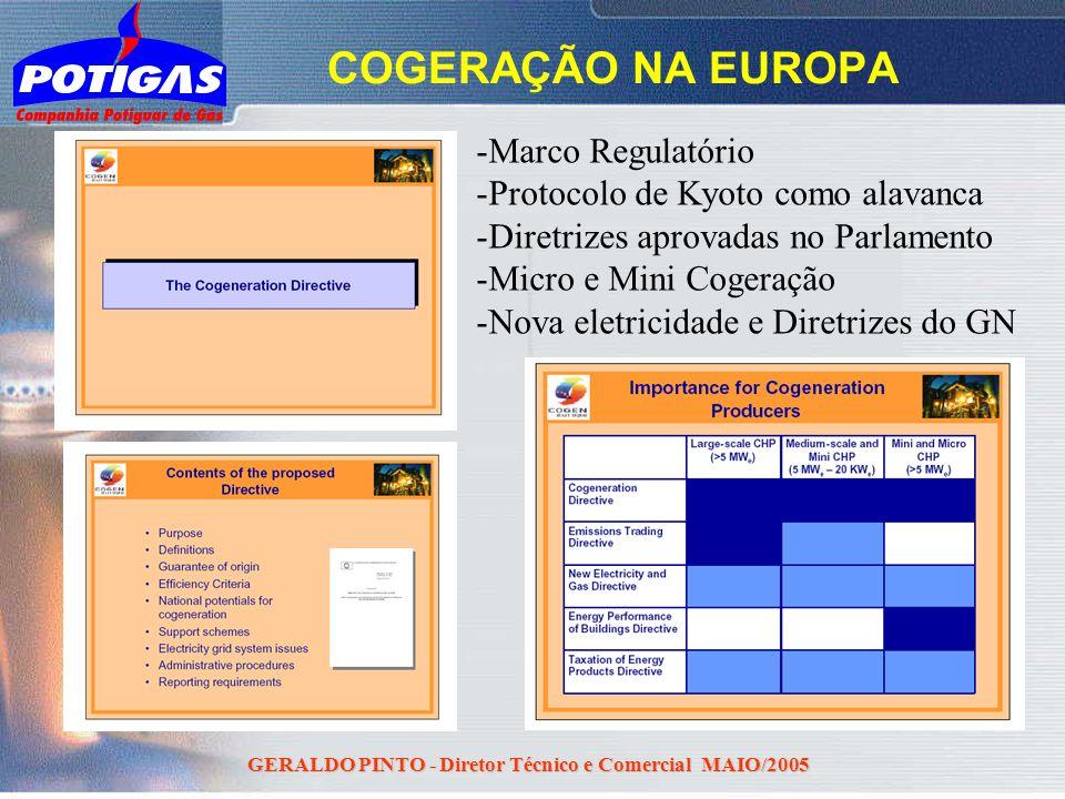 GERALDO PINTO - Diretor Técnico e Comercial MAIO/2005 COGERAÇÃO NA EUROPA - -Marco Regulatório - -Protocolo de Kyoto como alavanca - -Diretrizes aprov