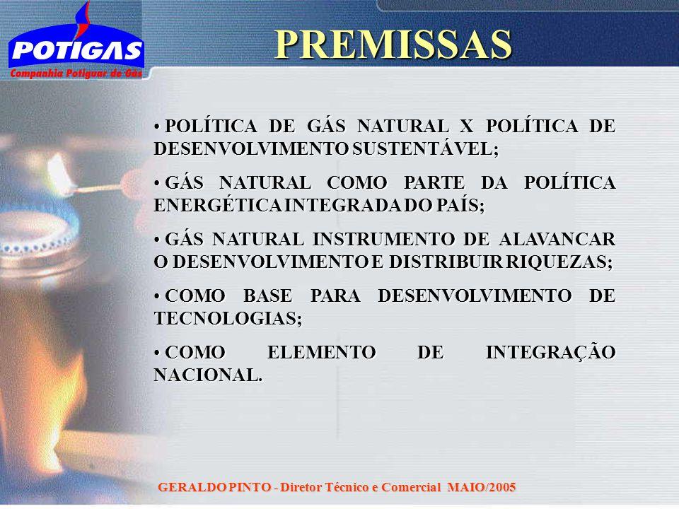 GERALDO PINTO - Diretor Técnico e Comercial MAIO/2005PREMISSAS POLÍTICA DE GÁS NATURAL X POLÍTICA DE DESENVOLVIMENTO SUSTENTÁVEL; POLÍTICA DE GÁS NATU
