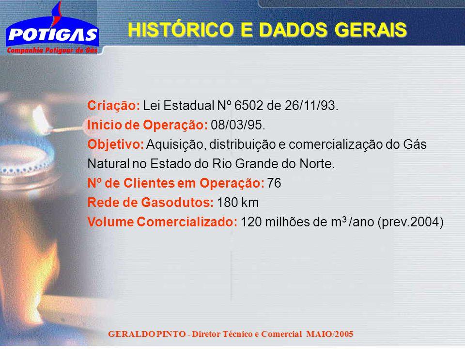 GERALDO PINTO - Diretor Técnico e Comercial MAIO/2005 Criação: Lei Estadual Nº 6502 de 26/11/93. Inicio de Operação: 08/03/95. Objetivo: Aquisição, di