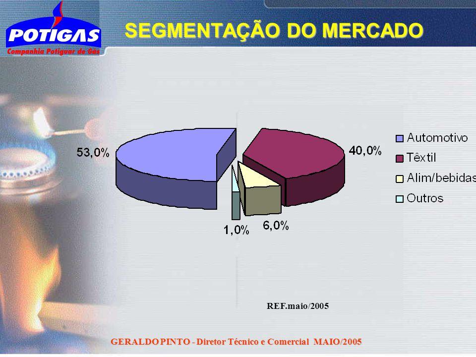 GERALDO PINTO - Diretor Técnico e Comercial MAIO/2005 REF.maio/2005 SEGMENTAÇÃO DO MERCADO