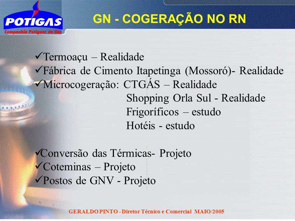 GERALDO PINTO - Diretor Técnico e Comercial MAIO/2005 GN - COGERAÇÃO NO RN Termoaçu – Realidade Fábrica de Cimento Itapetinga (Mossoró)- Realidade Mic