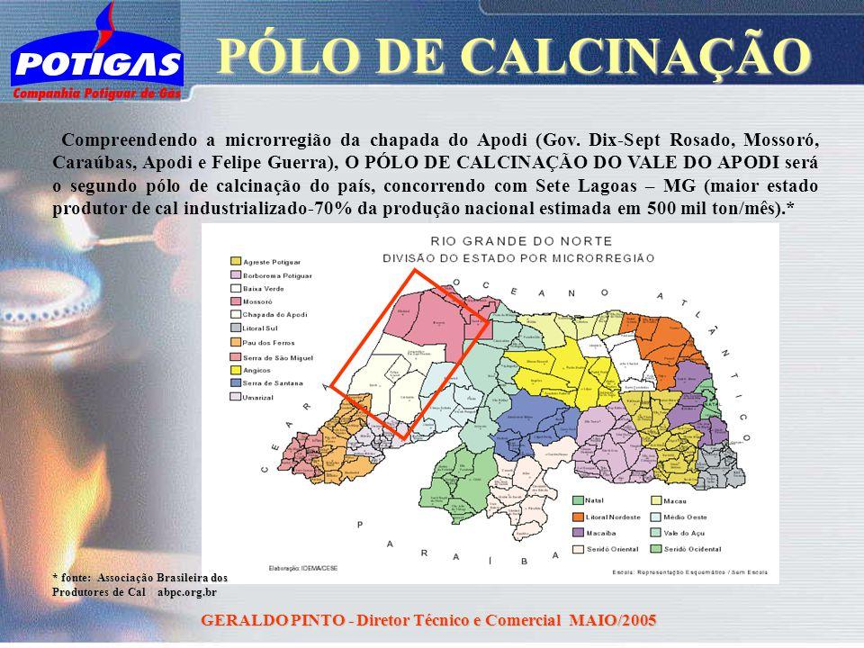 GERALDO PINTO - Diretor Técnico e Comercial MAIO/2005 Compreendendo a microrregião da chapada do Apodi (Gov. Dix-Sept Rosado, Mossoró, Caraúbas, Apodi