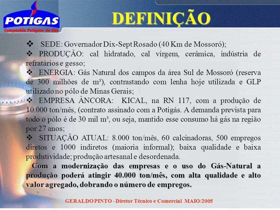 GERALDO PINTO - Diretor Técnico e Comercial MAIO/2005 SEDE: Governador Dix-Sept Rosado (40 Km de Mossoró); PRODUÇÃO: cal hidratado, cal virgem, cerâmi