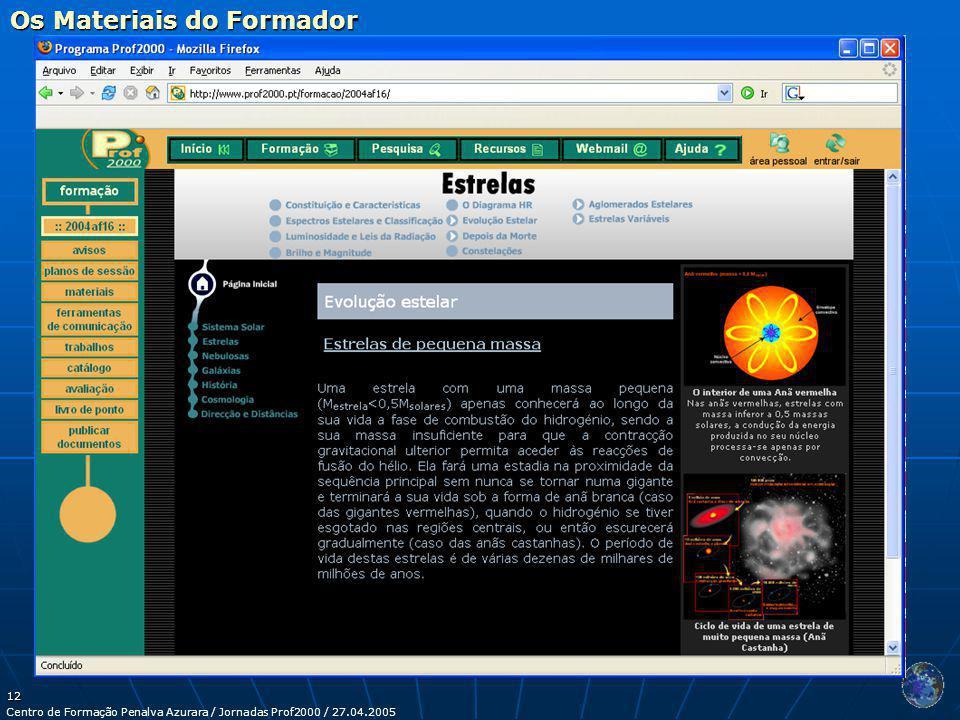 Centro de Formação Penalva Azurara / Jornadas Prof2000 / 27.04.2005 12 Os Materiais do Formador