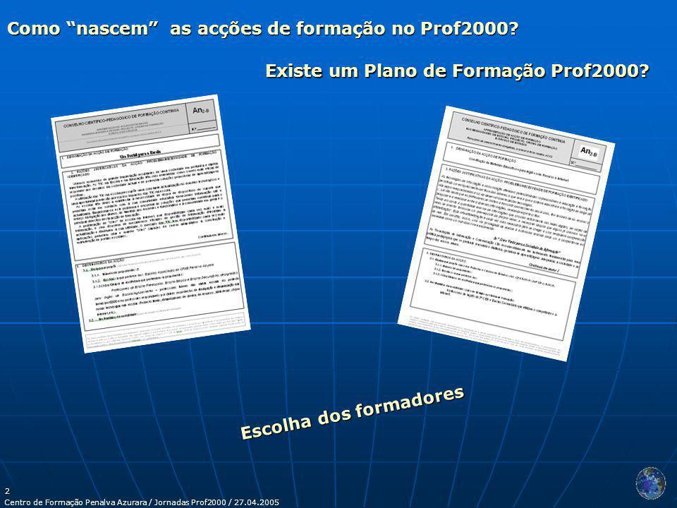 Centro de Formação Penalva Azurara / Jornadas Prof2000 / 27.04.2005 2 Como nascem as acções de formação no Prof2000.