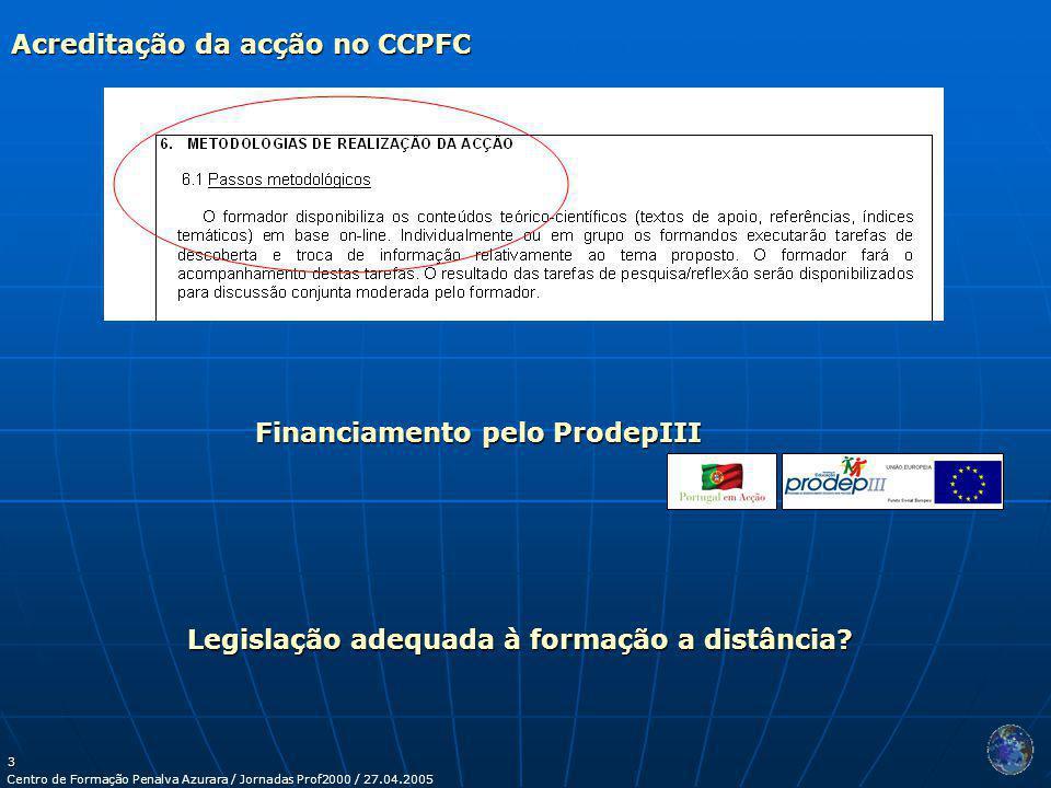 Centro de Formação Penalva Azurara / Jornadas Prof2000 / 27.04.2005 3 Financiamento pelo ProdepIII Acreditação da acção no CCPFC Legislação adequada à formação a distância