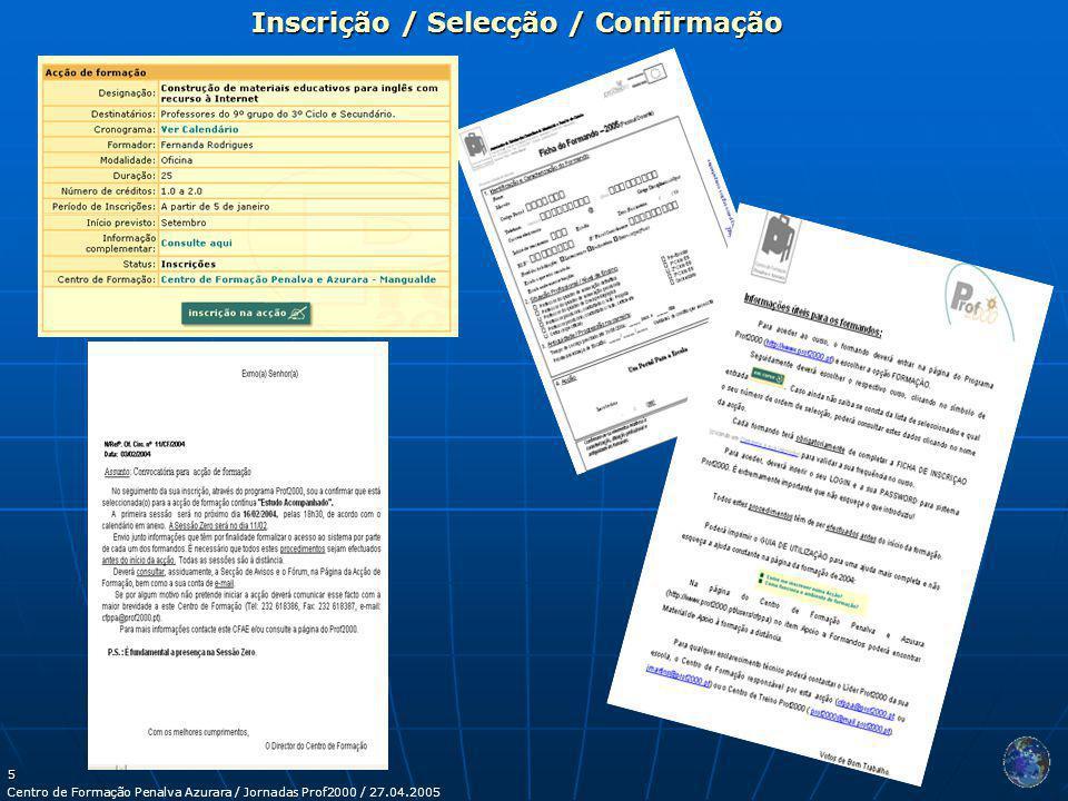 Centro de Formação Penalva Azurara / Jornadas Prof2000 / 27.04.2005 5 Inscrição / Selecção / Confirmação