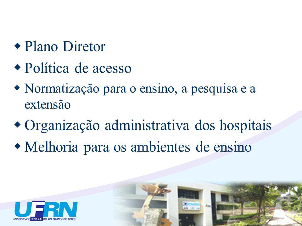 Plano Diretor Política de acesso Normatização para o ensino, a pesquisa e a extensão Organização administrativa dos hospitais Melhoria para os ambient