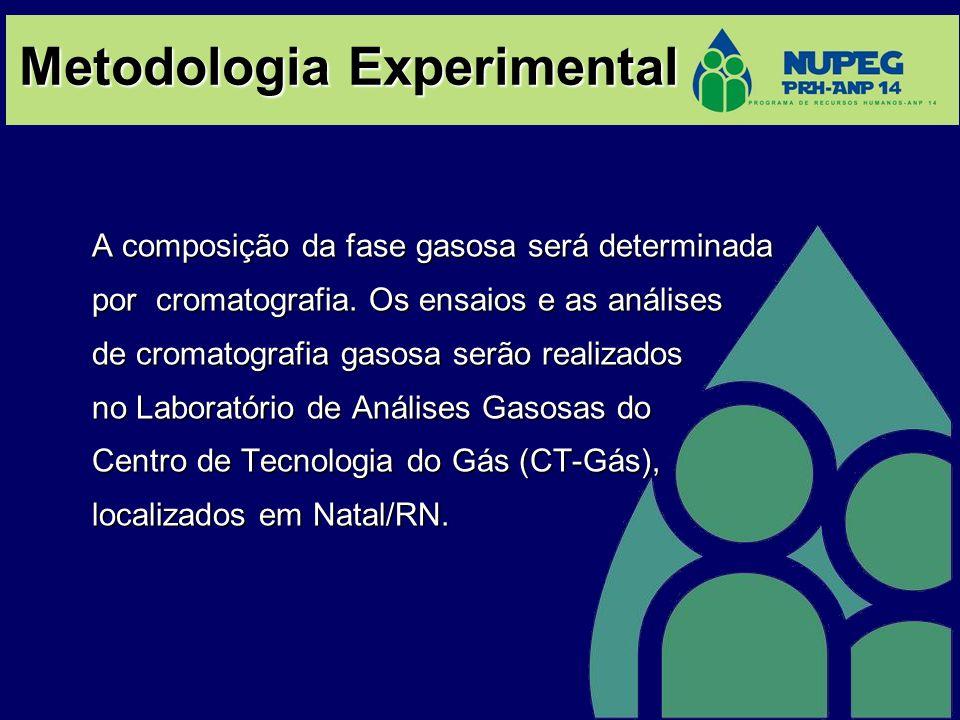 Metodologia Experimental A composição da fase gasosa será determinada por cromatografia. Os ensaios e as análises de cromatografia gasosa serão realiz
