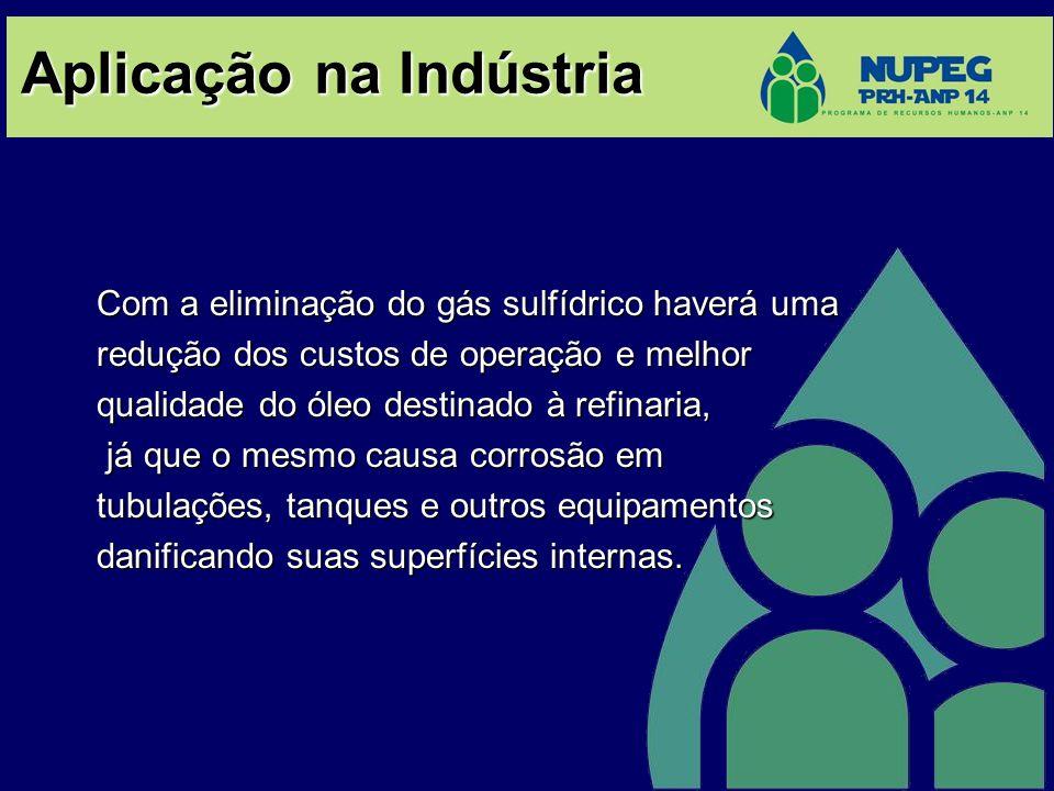 Aplicação na Indústria Com a eliminação do gás sulfídrico haverá uma redução dos custos de operação e melhor qualidade do óleo destinado à refinaria,