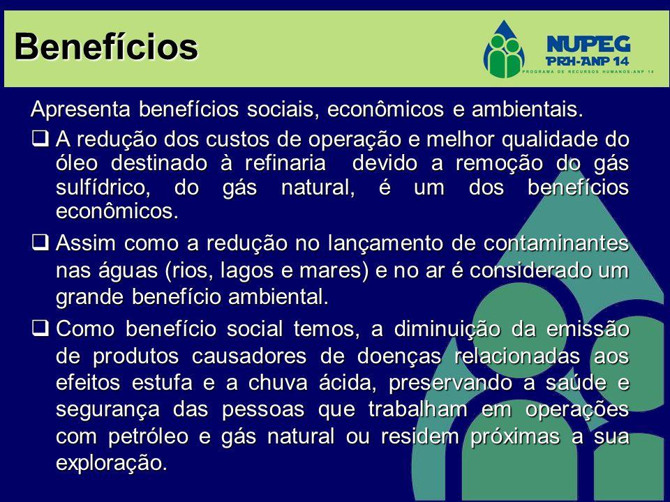 Benefícios Apresenta benefícios sociais, econômicos e ambientais. A redução dos custos de operação e melhor qualidade do óleo destinado à refinaria de