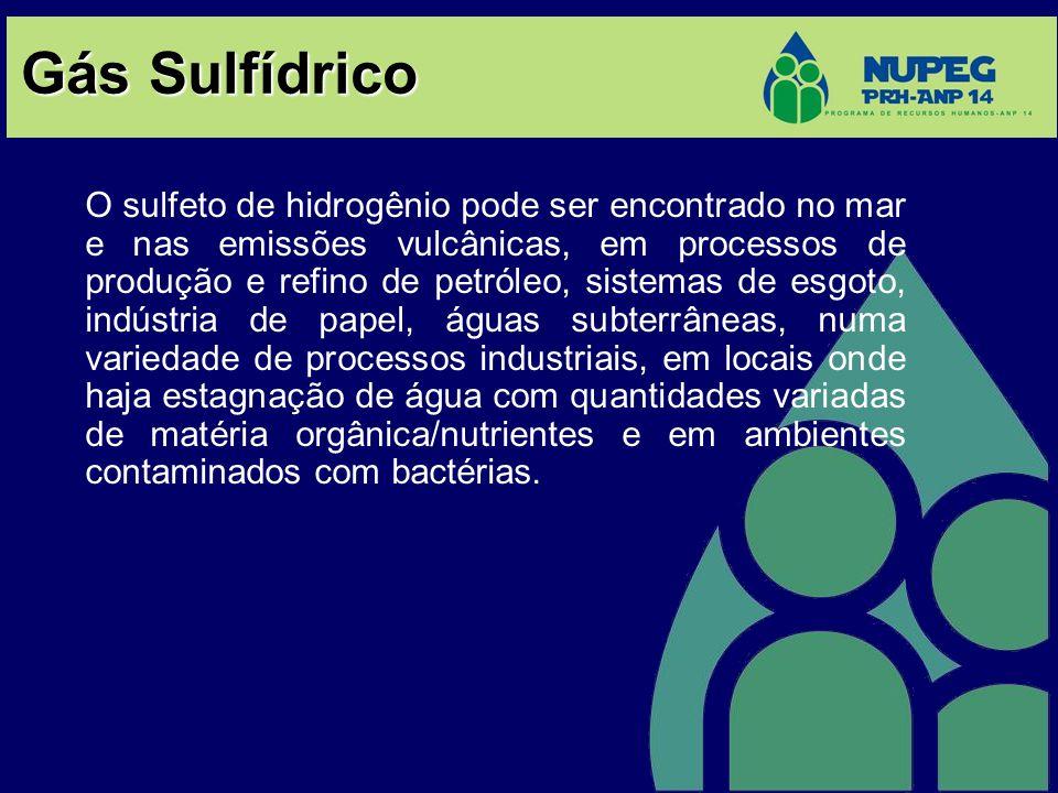 Gás Sulfídrico O sulfeto de hidrogênio pode ser encontrado no mar e nas emissões vulcânicas, em processos de produção e refino de petróleo, sistemas d