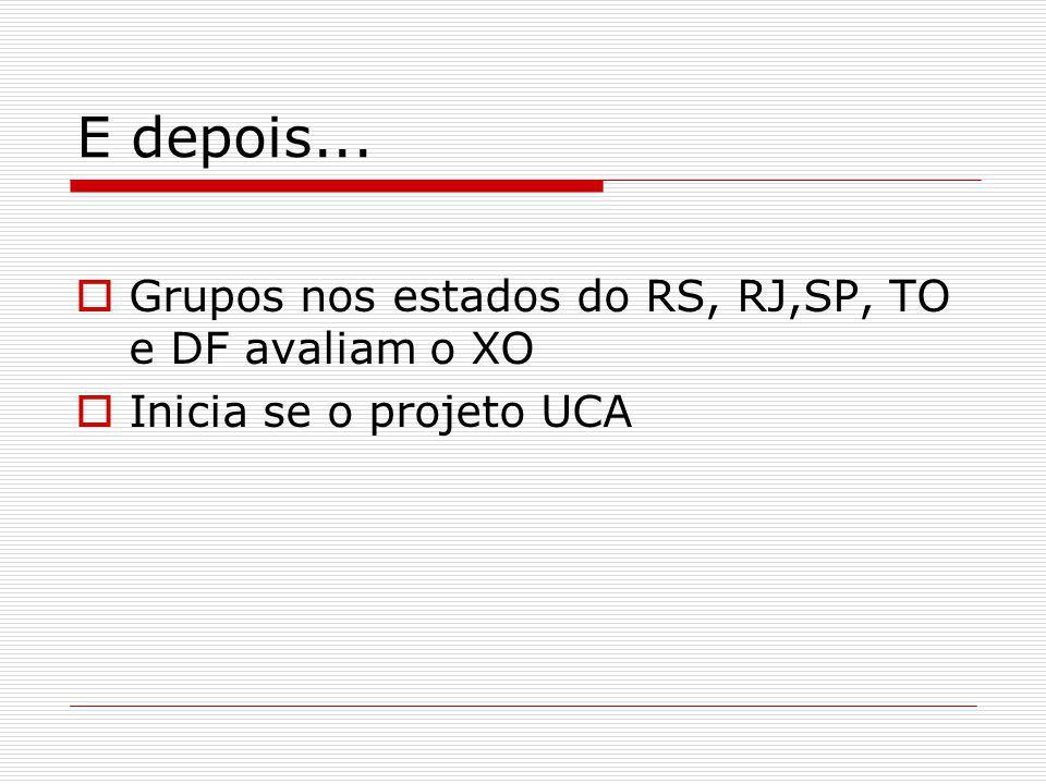 E depois... Grupos nos estados do RS, RJ,SP, TO e DF avaliam o XO Inicia se o projeto UCA