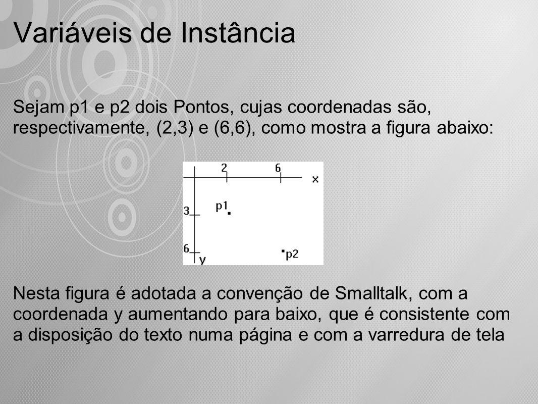 Variáveis de Instância Sejam p1 e p2 dois Pontos, cujas coordenadas são, respectivamente, (2,3) e (6,6), como mostra a figura abaixo: Nesta figura é a