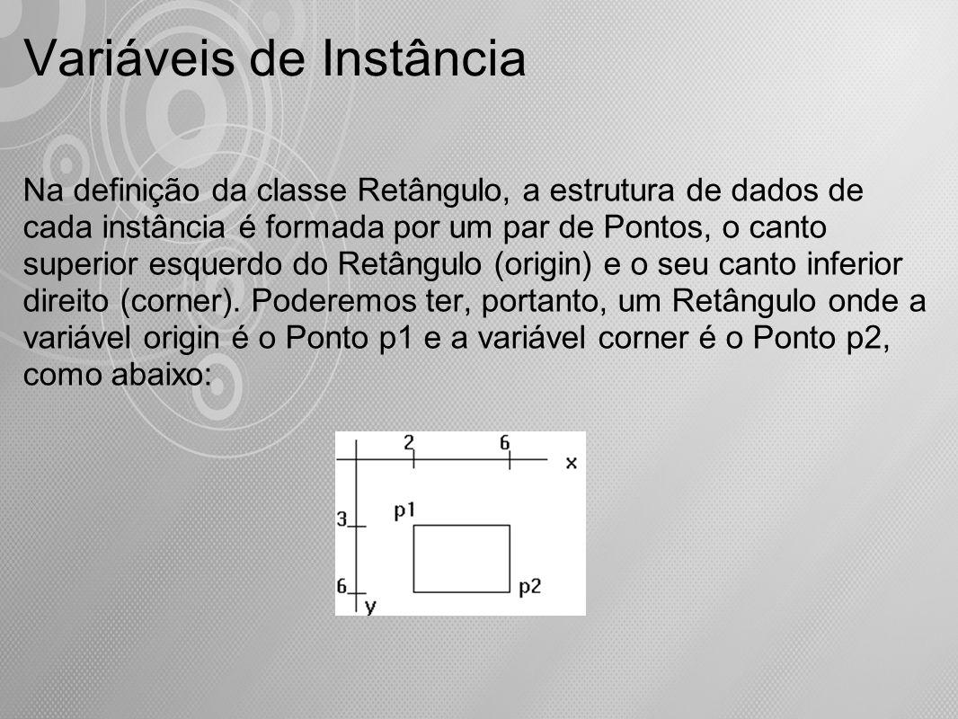 Variáveis de Instância Na definição da classe Retângulo, a estrutura de dados de cada instância é formada por um par de Pontos, o canto superior esque