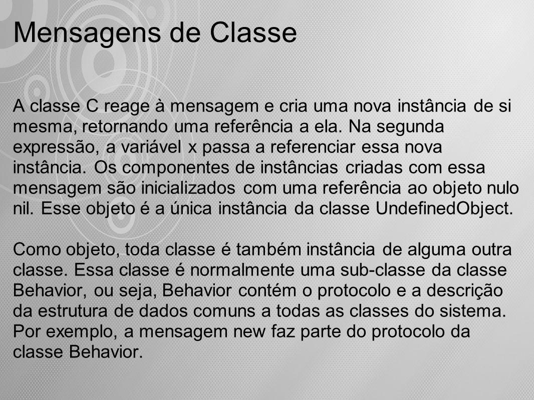Mensagens de Classe A classe C reage à mensagem e cria uma nova instância de si mesma, retornando uma referência a ela. Na segunda expressão, a variáv