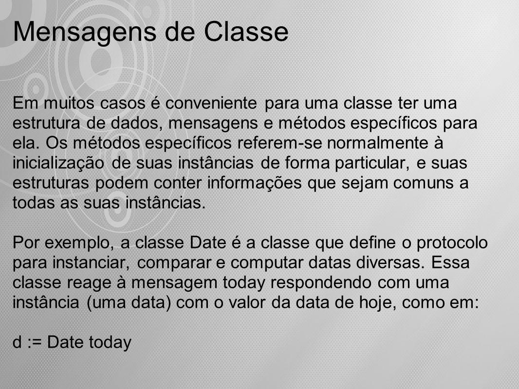 Mensagens de Classe Em muitos casos é conveniente para uma classe ter uma estrutura de dados, mensagens e métodos específicos para ela. Os métodos esp