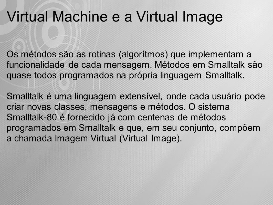 Os métodos são as rotinas (algorítmos) que implementam a funcionalidade de cada mensagem. Métodos em Smalltalk são quase todos programados na própria