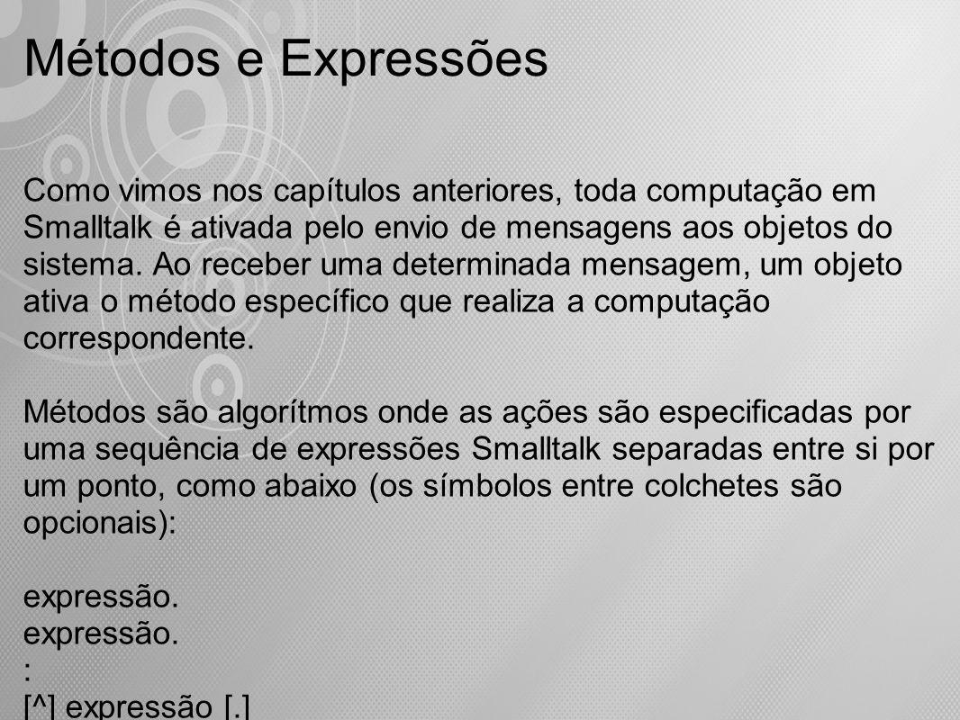 Como vimos nos capítulos anteriores, toda computação em Smalltalk é ativada pelo envio de mensagens aos objetos do sistema. Ao receber uma determinada