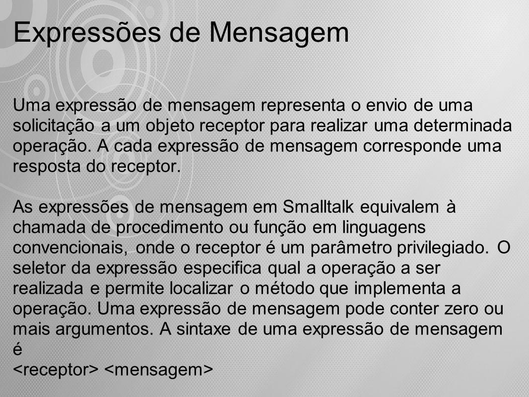 Uma expressão de mensagem representa o envio de uma solicitação a um objeto receptor para realizar uma determinada operação. A cada expressão de mensa