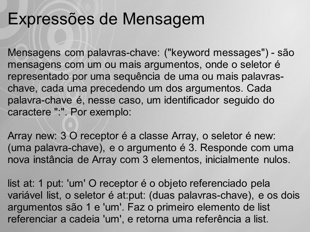 Expressões de Mensagem Mensagens com palavras-chave: (