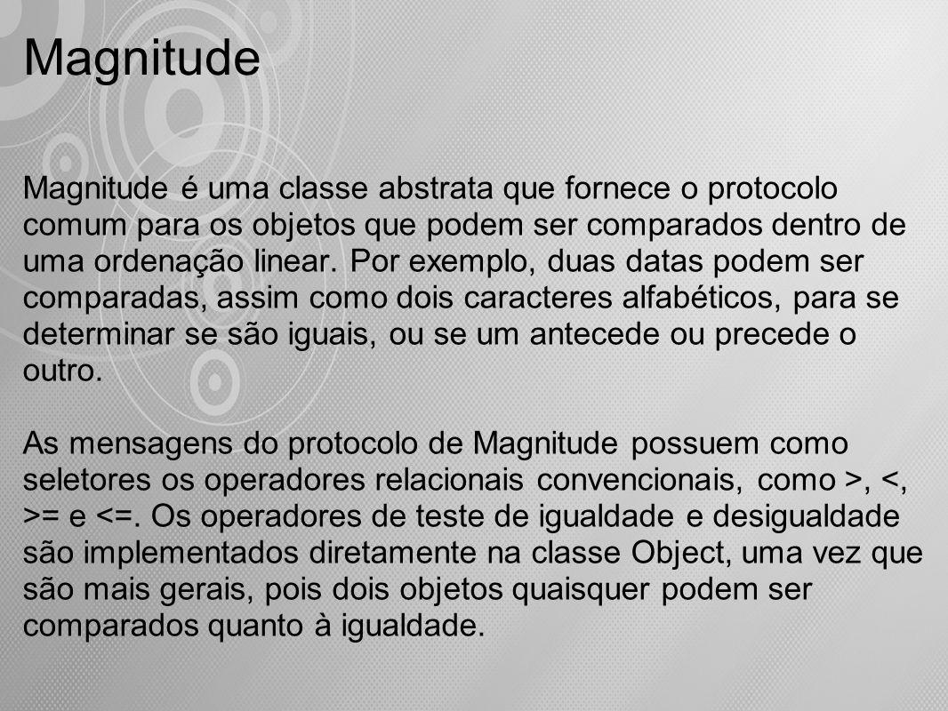 Magnitude é uma classe abstrata que fornece o protocolo comum para os objetos que podem ser comparados dentro de uma ordenação linear. Por exemplo, du
