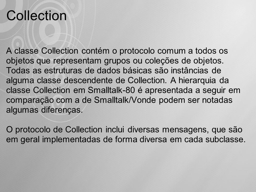 A classe Collection contém o protocolo comum a todos os objetos que representam grupos ou coleções de objetos. Todas as estruturas de dados básicas sã