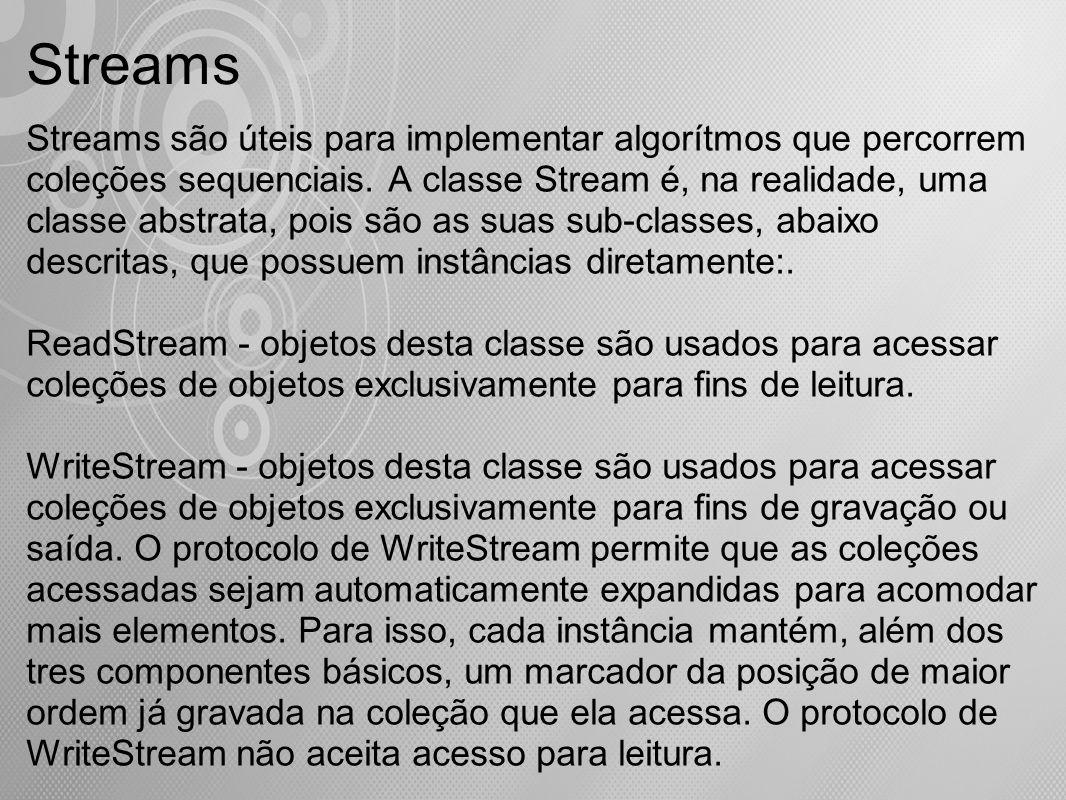 Streams Streams são úteis para implementar algorítmos que percorrem coleções sequenciais. A classe Stream é, na realidade, uma classe abstrata, pois s
