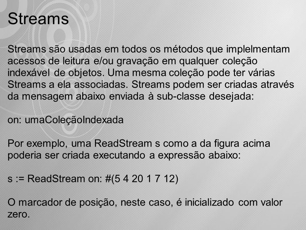 Streams Streams são usadas em todos os métodos que implelmentam acessos de leitura e/ou gravação em qualquer coleção indexável de objetos. Uma mesma c