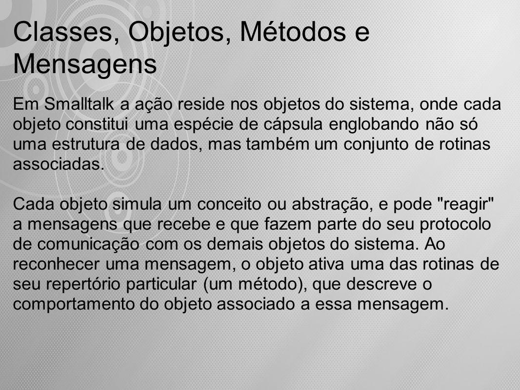 Métodos Recursivos Uma mensagem pode ser utilizada recursivamente na definição de qualquer método.