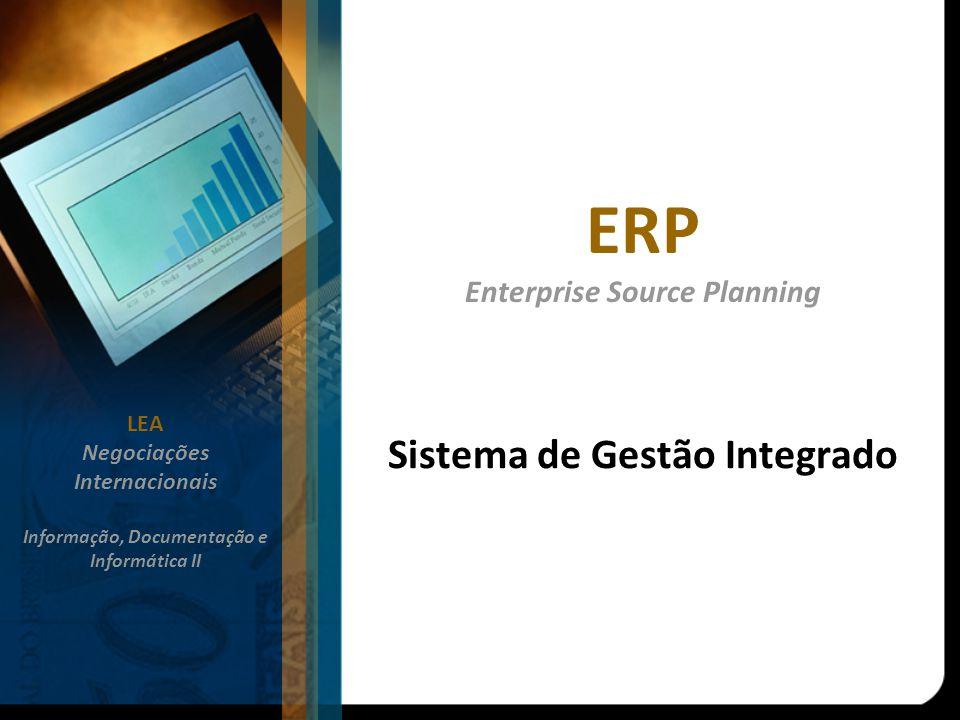 ERP Enterprise Source Planning Sistema de Gestão Integrado LEA Negociações Internacionais Informação, Documentação e Informática II