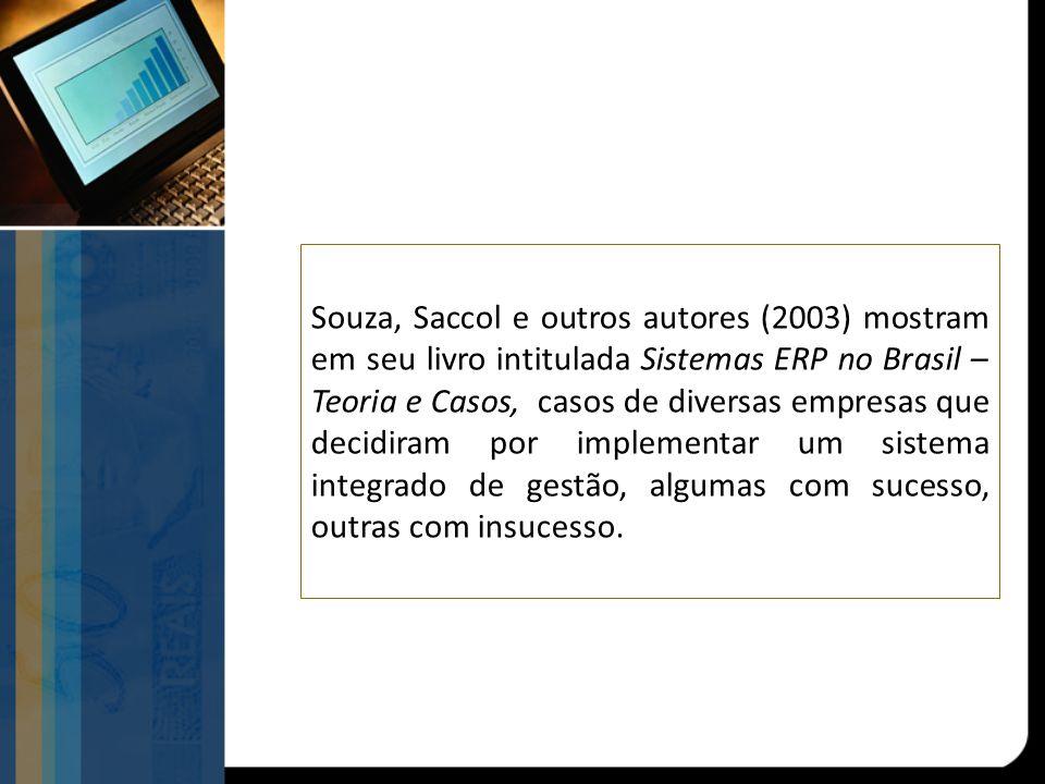 Souza, Saccol e outros autores (2003) mostram em seu livro intitulada Sistemas ERP no Brasil – Teoria e Casos, casos de diversas empresas que decidira