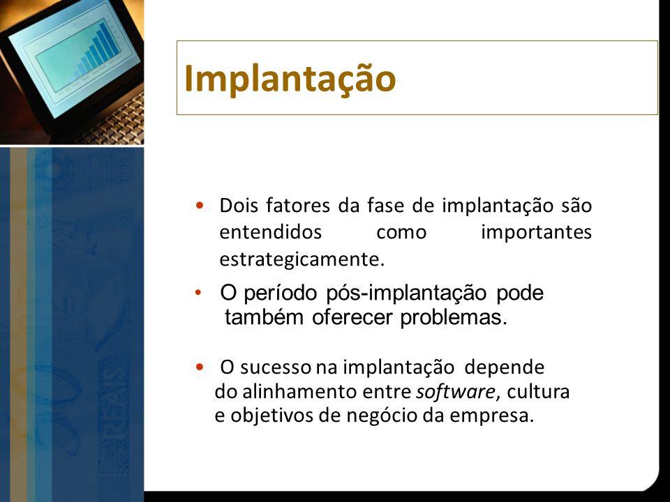 Implantação Dois fatores da fase de implantação são entendidos como importantes estrategicamente. O período pós-implantação pode também oferecer probl