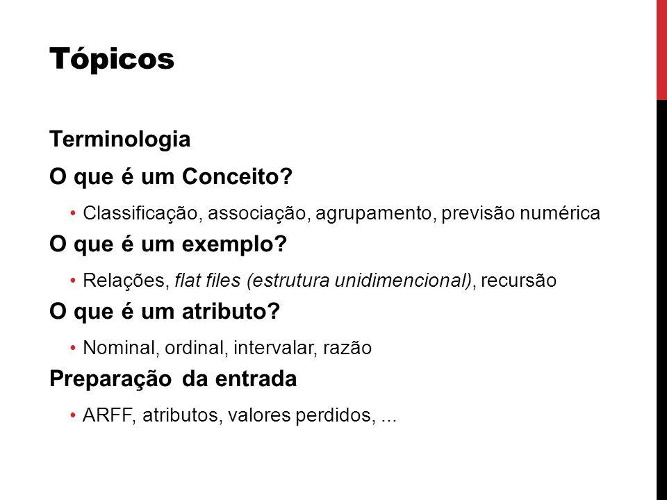 Tópicos Terminologia O que é um Conceito? Classificação, associação, agrupamento, previsão numérica O que é um exemplo? Relações, flat files (estrutur