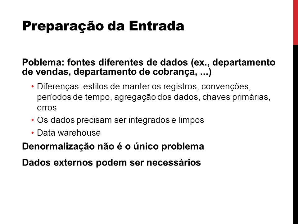Preparação da Entrada Poblema: fontes diferentes de dados (ex., departamento de vendas, departamento de cobrança,...) Diferenças: estilos de manter os