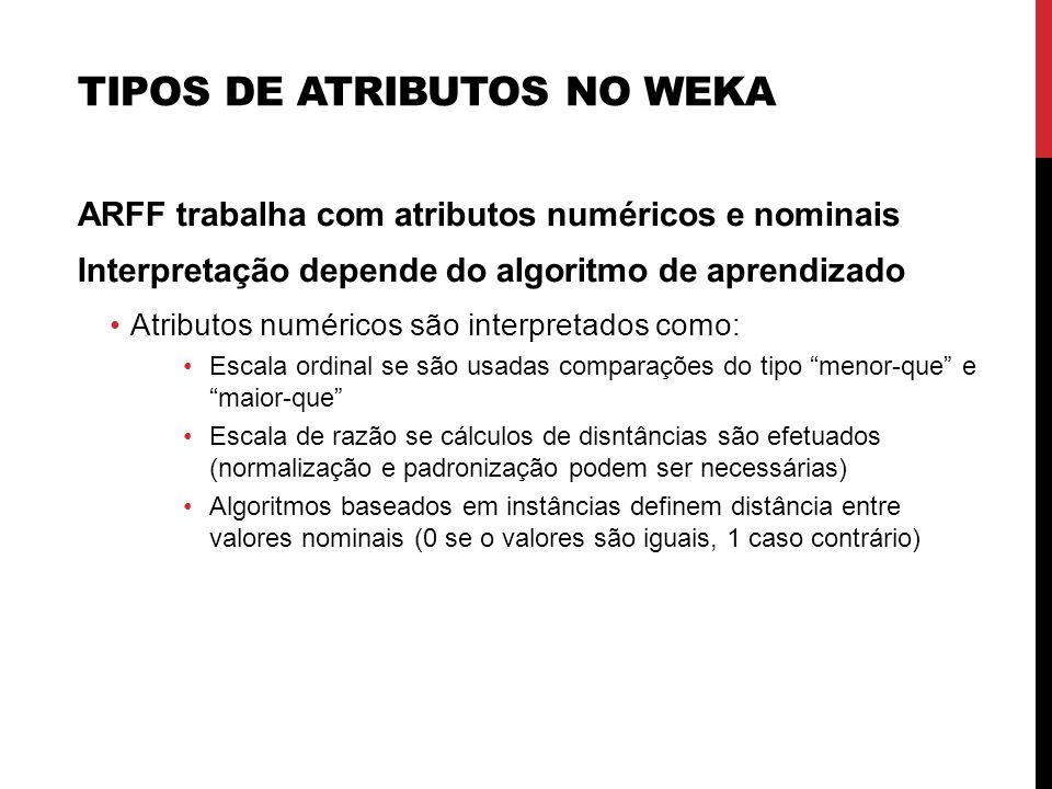 TIPOS DE ATRIBUTOS NO WEKA ARFF trabalha com atributos numéricos e nominais Interpretação depende do algoritmo de aprendizado Atributos numéricos são