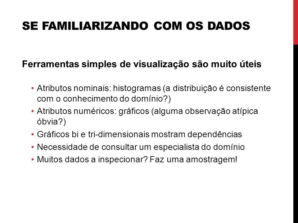 SE FAMILIARIZANDO COM OS DADOS Ferramentas simples de visualização são muito úteis Atributos nominais: histogramas (a distribuição é consistente com o
