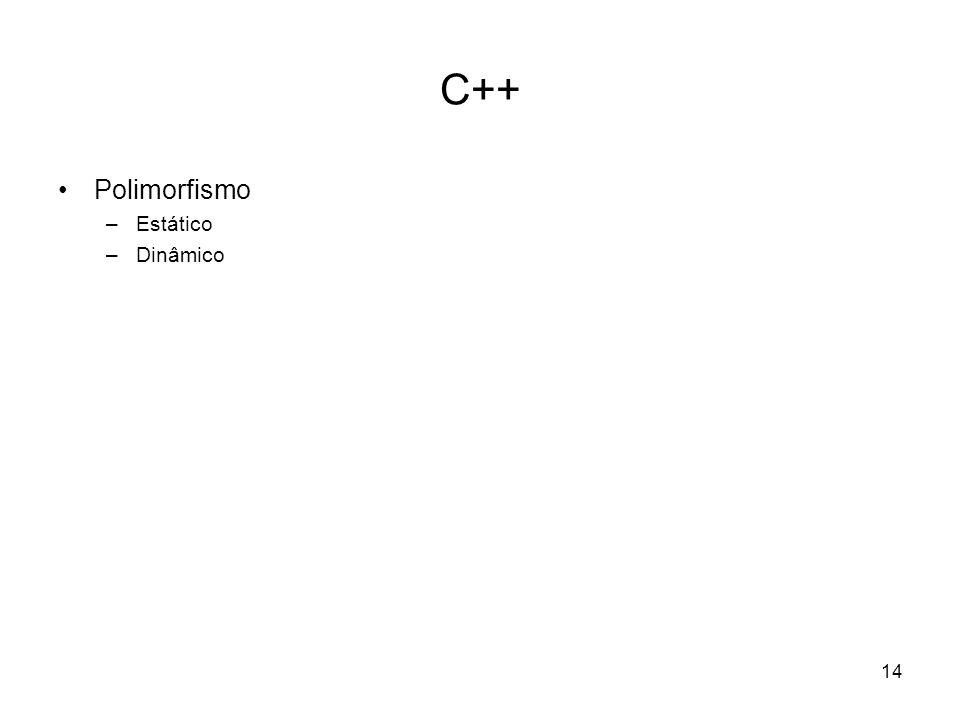 14 C++ Polimorfismo –Estático –Dinâmico