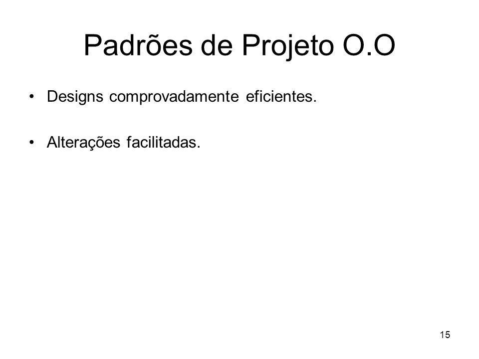 15 Padrões de Projeto O.O Designs comprovadamente eficientes. Alterações facilitadas.