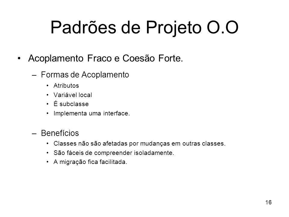16 Padrões de Projeto O.O Acoplamento Fraco e Coesão Forte.