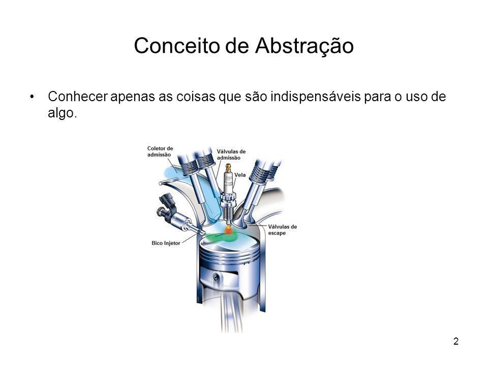 2 Conceito de Abstração Conhecer apenas as coisas que são indispensáveis para o uso de algo.