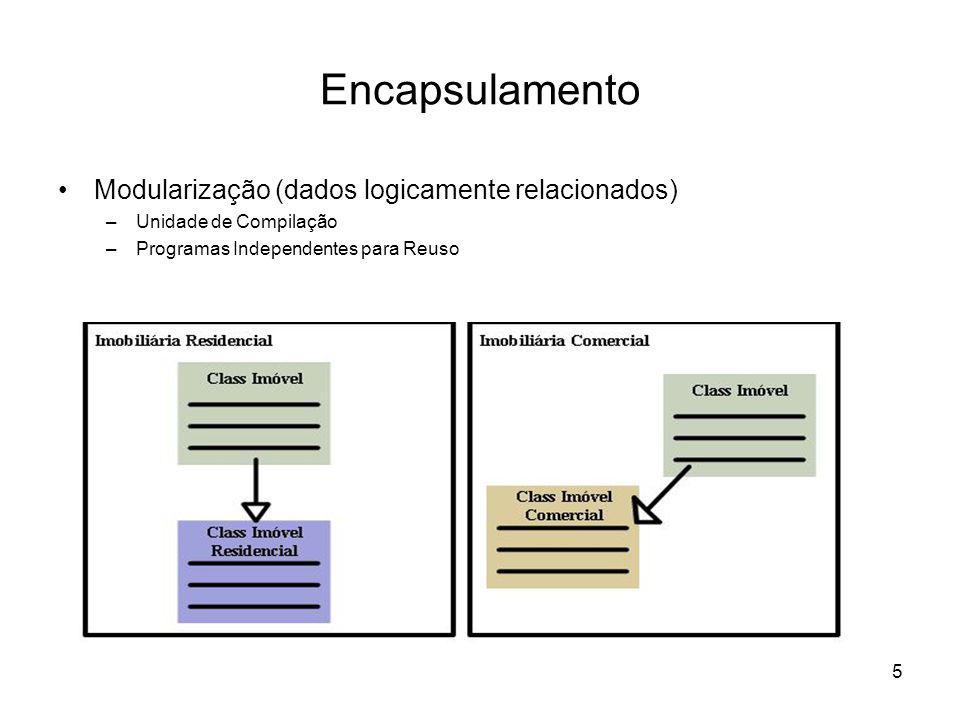 5 Encapsulamento Modularização (dados logicamente relacionados) –Unidade de Compilação –Programas Independentes para Reuso