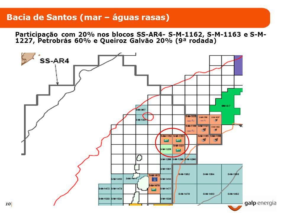 10 Bacia de Santos (mar – águas rasas) Participação com 20% nos blocos SS-AR4- S-M-1162, S-M-1163 e S-M- 1227, Petrobrás 60% e Queiroz Galvão 20% (9ª