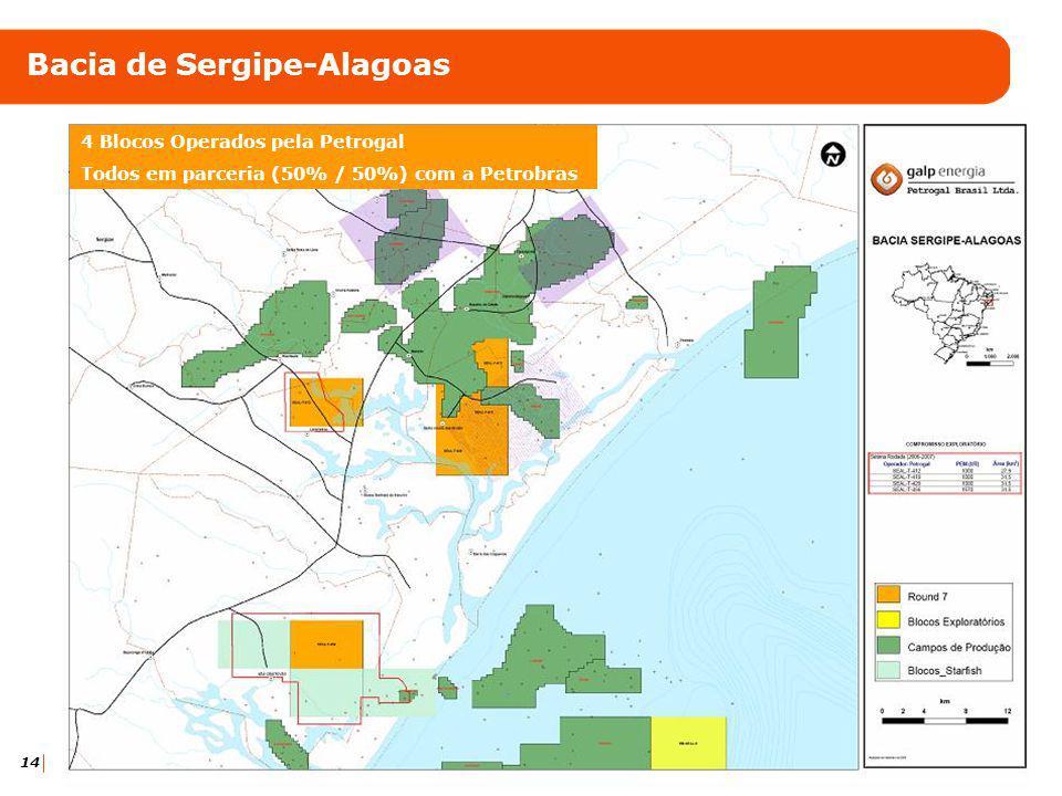 14 Bacia de Sergipe-Alagoas 4 Blocos Operados pela Petrogal Todos em parceria (50% / 50%) com a Petrobras
