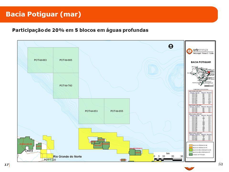 17 Bacia Potiguar (mar) Participação de 20% em 5 blocos em águas profundas