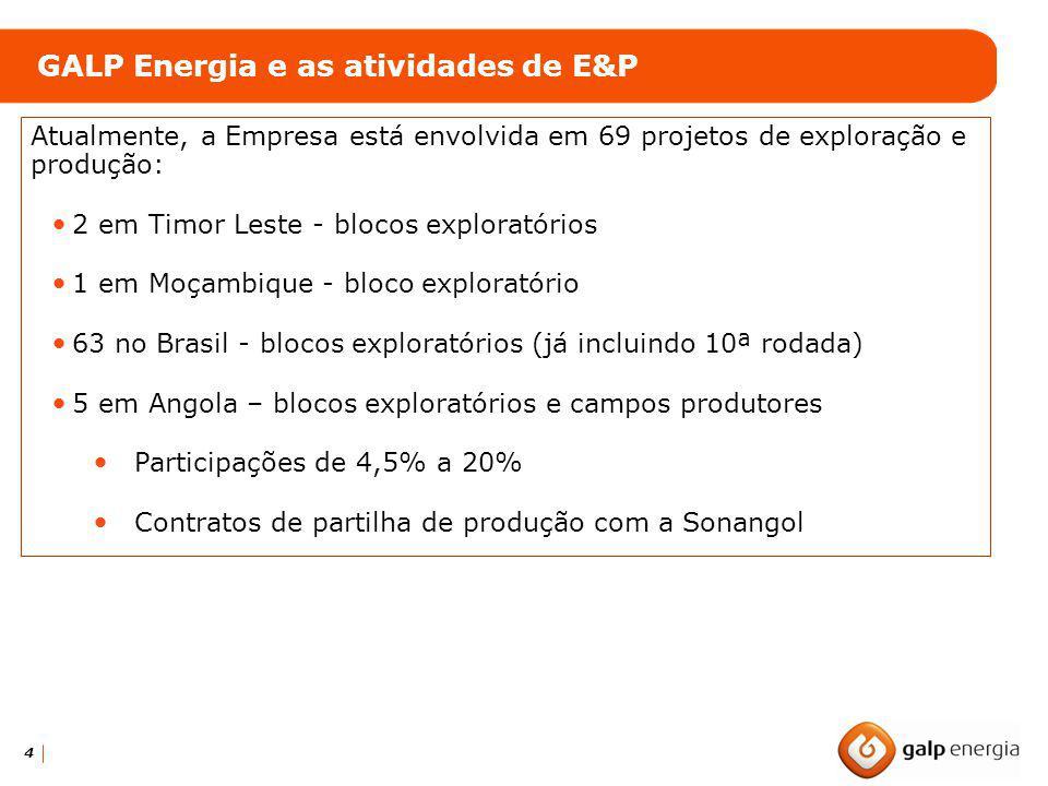 4 GALP Energia e as atividades de E&P Atualmente, a Empresa está envolvida em 69 projetos de exploração e produção: 2 em Timor Leste - blocos explorat